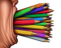 Expresión de la creatividad y voz artística stock de ilustración