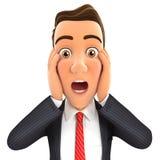 expresión de la sorpresa del hombre de negocios 3d stock de ilustración
