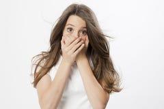 Expresión de una chica joven real Foto de archivo