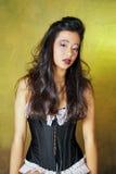 Expresión facial atractiva de una muchacha asiática Pin-Para arriba Fotos de archivo