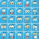 Expresión facial en el botón azul Fotos de archivo