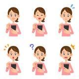 Expresión facial femenina de la operación de Smartphone stock de ilustración