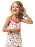 Expresión que escucha de la niña Imagen de archivo