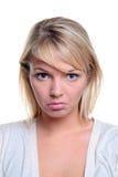 Expresión triste de la mujer de Blong Imagen de archivo