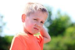 Expresión infeliz del niño Fotos de archivo