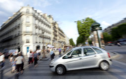 Expresion Champs Elysees paris. Blurred expresion of a car and people down the Champs Elysees, Paris Stock Photo