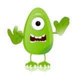 Expresiones de carácter verdes del monstruo divertidas Imagen de archivo libre de regalías