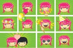 Expresiones de la cara de las muchachas Imagen de archivo