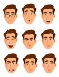 Expresiones de la cara de un hombre Diversas emociones masculinas fijadas stock de ilustración