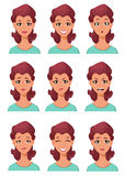 Expresiones de la cara de una mujer Diversas emociones femeninas fijadas stock de ilustración