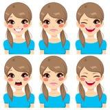 Expresiones de la cara del adolescente Foto de archivo libre de regalías