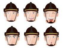Expresiones de la cara del bombero en casco seguro libre illustration