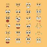 Expresiones de la historieta con las bocas y los ojos ilustración del vector