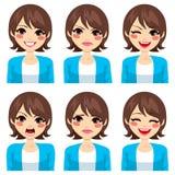 Expresiones de la mujer fijadas Imagen de archivo libre de regalías