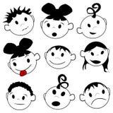 Expresiones de los niños Fotografía de archivo