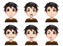 Expresiones del avatar del muchacho de la historieta Fotos de archivo