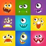 Expresiones del monstruo La historieta divertida hace frente a vector Fotos de archivo