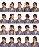 Expresiones faciales útiles. Caras del agente. Fotos de archivo
