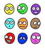 Expresiones faciales de la historieta multicolora ilustración del vector