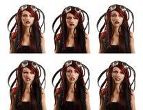 Expresiones faciales de la muchacha del sistema emocional punky informal adolescente del ciber Fotos de archivo libres de regalías