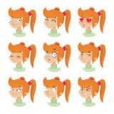 Expresiones faciales de la muchacha linda Foto de archivo libre de regalías