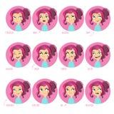 Expresiones faciales de las muchachas Fotos de archivo