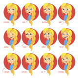 Expresiones faciales de las muchachas Foto de archivo libre de regalías