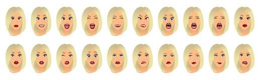 Expresiones faciales de las mujeres, gestos, alegría de la sorpresa del miedo de la decepción del éxtasis de la tristeza del repu ilustración del vector