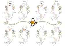 Expresiones faciales del fantasma de Halloween fijadas ilustración del vector