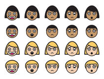 Expresiones faciales lindas Imágenes de archivo libres de regalías