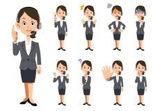Expresiones faciales y gestos de operadores de sexo femenino libre illustration