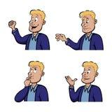 Expresiones masculinas ilustración del vector