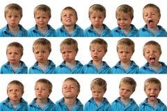 Expresiones - muchacho de cinco años imagen de archivo