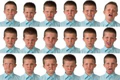 Expresiones - muchacho de nueve años imagenes de archivo