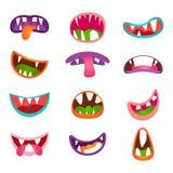 Expresiones y emociones animales lindas de la cara Sistema cómico de la boca del monstruo divertido de la historieta Imagen de archivo