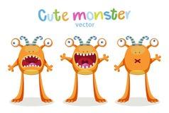 Expresiones y emociones Emociones lindas de los monstruos de la historieta Sistema del vector aislado stock de ilustración