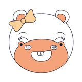 Expressão animal do sorriso do hipopótamo fêmea da cara das seções da cor da silhueta Foto de Stock Royalty Free