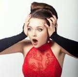 Expressão. Cara da mulher sem-palavras chocada. Admiração imagens de stock royalty free