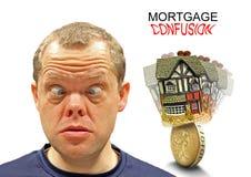 Expressão confusa da hipoteca foto de stock