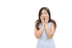 Expressão da mulher Bom surpreendido Isolado fotos de stock royalty free