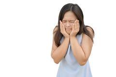 Expressão da mulher frustrado Isolado no branco foto de stock royalty free
