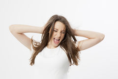 Expressão de uma rapariga real Imagens de Stock Royalty Free