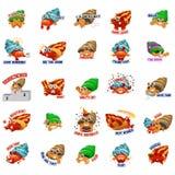 Expressão do Emoticon de Emoji do caranguejo de eremita Imagens de Stock
