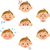 Expressão do menino doente ilustração stock