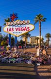 Expressão dos pêsames no sinal de Las Vegas após o ataque de terror - LAS VEGAS - NEVADA - 12 de outubro de 2017 Imagens de Stock Royalty Free