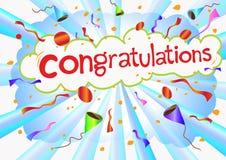 Expressão e celebrati das felicitações da ilustração Fotos de Stock Royalty Free