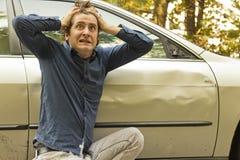 Expressão facial do acidente de viação fotografia de stock royalty free