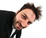 Expressão facial do homem de negócios novo louco imagem de stock royalty free