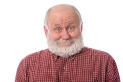 Expressão facial surpreendida mostras do sorriso do homem superior, isolada no branco fotos de stock