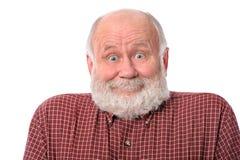Expressão facial surpreendida mostras do sorriso do homem superior, isolada no branco imagens de stock royalty free